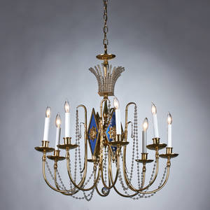 American art deco chandelier and pair of matching sconces brass crystals coated and mirrored glass all with manufacturer label chandelier 30 x 26 dia