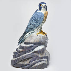 Paul doherty perregrine falcon sculpture usa 2001 painted gum tupelo and ceramic signed 21 x 10 x 15