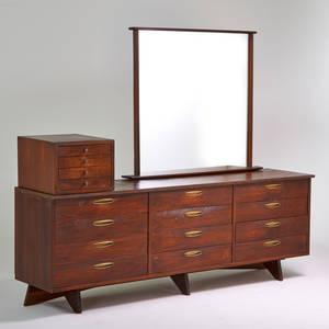 George nakashima widdicomb triple dresser miniature cabinet mirror grand rapids mi 1950s walnut brass mirror upholstery labels dresser 32 x 89 12 x 22 miniature cabinet 15 12 x 17