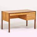 Harvey probber harvey probber international desk fall river ma 1960s bleached rosewood mahogany aluminum metal label 29 12 x 49 x 25