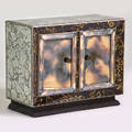 Hollywood regency twodoor cabinet usa 1940s silvered and ebonized wood beveled mirror unmarked 32 12 x 40 12 x 18 12