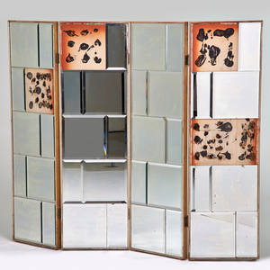 Hollywood regency four panel folding screen ca 1950s mirrored glass silvered wood each panel 60 12 x 18
