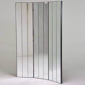 Hollywood regency three panel folding screen 1970s mirrored glass enameled wood unmarked each panel 78 x 18