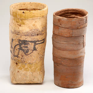 Ed rossbach two vases one with revolver decoration and one with eucalyptus bark usa 19881989 both signed taller 14 x 6 14