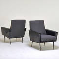Erton pair of lounge chairs france 1950s enameled steel brass vinyl upholstery unmarked 32 12 x 29 x 32