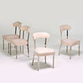 French art deco set of four side chairs 1920s heavy chromed steel ultrasuede unmarked each 33 x 19 x 20