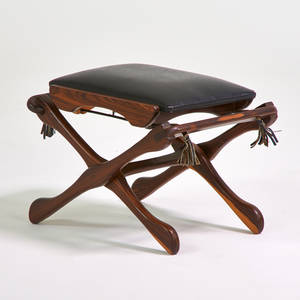 Don shoemaker senal folding stool mexico 1970s rosewood leather unmarked 16 x 22 x 17