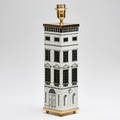 Piero fornasetti fornasetti atelier architectura table lamp italy 2008 white metal sheet printed in silk screen with brass mounting manufacturer sticker and marked fornasetti milano made in it
