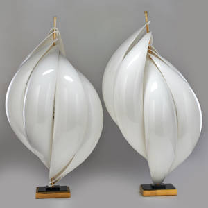 Rougier pair of large table lamps canada 1970s acrylic chromed steel lucite brass unmarked each 34 x 20 dia