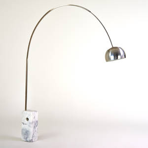 Achille and pierre giacomo castiglioni flos  arco adjustable floor lamp italy 1970s marble stainless steel polished and painted aluminum 95 x 82 x 13