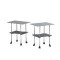 Robert josten pair of side tables 1970s polished aluminum shaped walnut unmarked 24 12 x 24 x 16