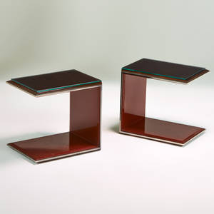 Contemporary pair of large cantilevering side tables usa 1990s rosewood patinated steel red enamel unmarked each 22 12 x 24 x 18