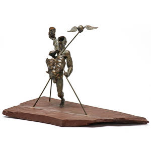 Brutalist bronze figural sculpture on stone base signed cm 1121 8 12 x 13 x 6 12