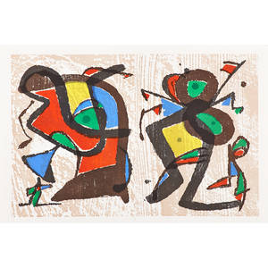 Joan miro spanish 18931983 uncut double lithograph in colors from original woodcut together with two lithographs in colors litografia original ii and vi from joan miro lithographies 1972
