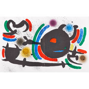 Joan miro spanish 18931983 two lithographs in colors litografia original ix and x from joan miro lithographies 1972 printer f mourlot  michel leiris paris maeght editions each 13 x 2