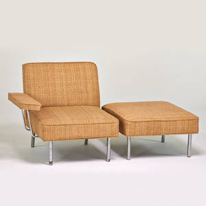George nelson herman miller lounge chair and ottoman zeeland mi 1950s mattechromed steel upholstery unmarked chair 30 x 33 x 34 ottoman 15 x 26 x 29