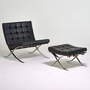 Barcelona style lounge chair ottoman and coffee table base usa 1970s chromed steel and leather unmarked 30 12 x 31 x 31 ottoman 15 x 24 x 22