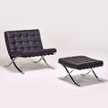 Style of mies van der rohe barcelona chair and ottoman ca 1960s leather chromed steel unmarked chair 29 x 31 x 33 ottoman 15 x 23 12 x 22 12