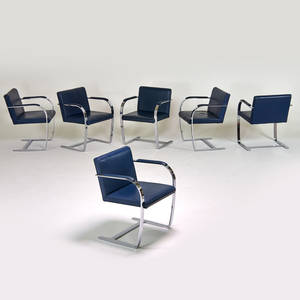 Brueton set of six brnostyle armchairs freeport ny 1980s chromed steel leather unmarked each 30 x 23 12 x 23