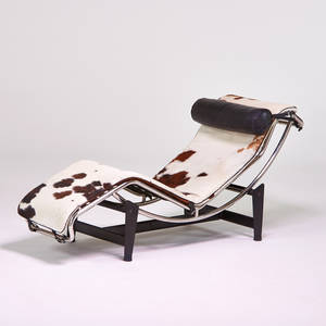 After le corbusier adjustable chaise lounge italy 1980s chromed and enameled steel hide leather unmarked as shown 28 x 22 12 x 69