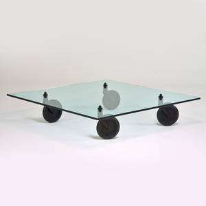 Gae aulenti fontana arte tavolo con ruote coffee table italy 1980s glass enameled metal rubber unmarked 12 x 48 x 48