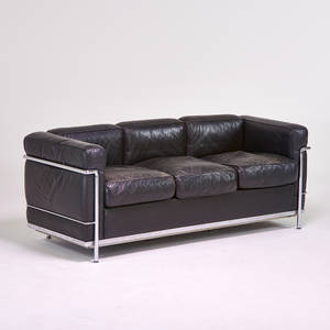 Le Corbusier Cassina Lc3 Sofa Italy 1980s Chromed Steel Leather Stamped  Makers Mark 27 X 27