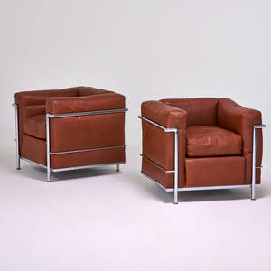 Le corbusier cassina pair of lc2 petit modele lounge chairs italy 1970s stamped and manufacturers labels each 27 x 30 x 28