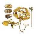 Collection of gold prospector jewelry