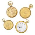 Four gold cased mechanical pocket watches
