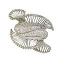 French diamond and platinum double clip brooch