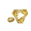 French 18k diamond fern motif brooch and ring
