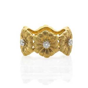 Buccellati diamond  18k gold floral eternity band