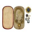 Nine pieces of 18th or 19th c mourning jewelry incl gold
