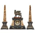 Egyptian revival onyx and marble garniture clock