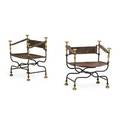 Pair of italian baroque style folding chairs