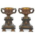 Pair of neoclassical bronze and marble urns