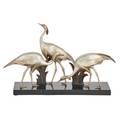 Art deco bronze group of egrets