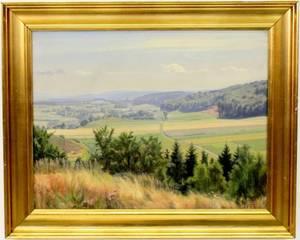 Rasmus Larsen Danish Landscape Signed  Dated