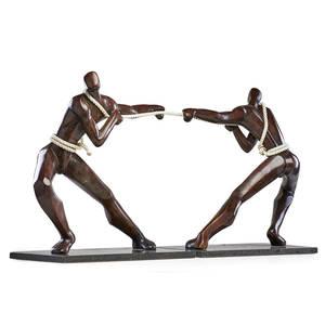 Modern figural sculpture tugofwar