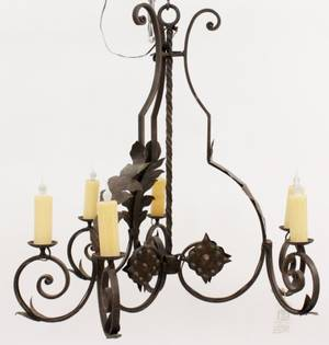 Curved Iron 6 Light Chandelier
