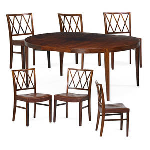 Ole wanscher slagelse dining table and six chairs