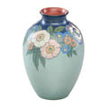 Lenore asbury rookwood vellum vase with flowers