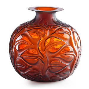 Lalique sophora vase amber glass