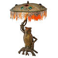 French bronze jeweled owl lamp