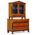 Biedermeier walnut bookcase chest of drawers