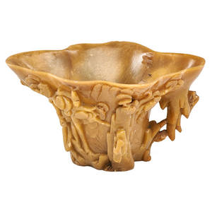 Chinese soapstone libation cup