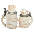 Porcelain pig character steins
