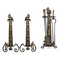 Brass and iron fireplace set