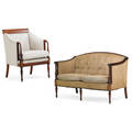 Federal style mahogany settee and armchair