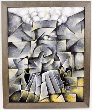 Contemporary Cubist Oil on CanvasTrain